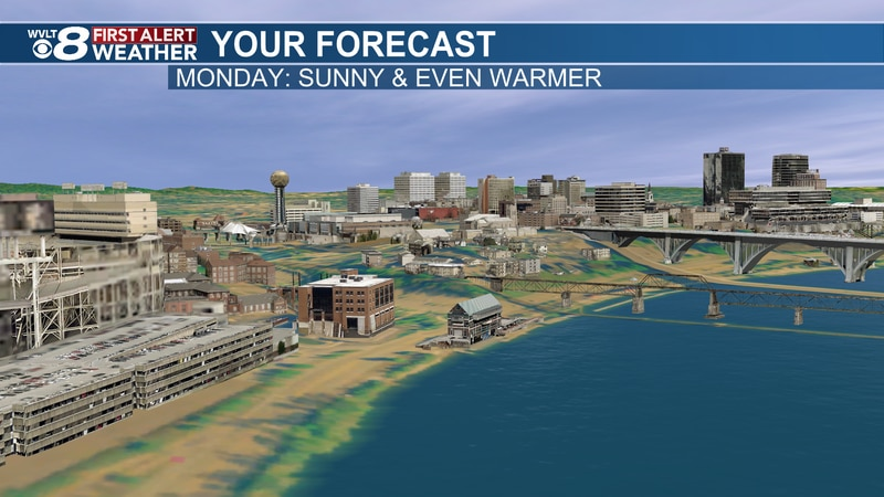 Sunny and warm, but cold front on the way.