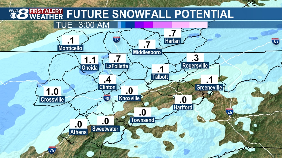 Scattered snow showers Monday through Monday night.