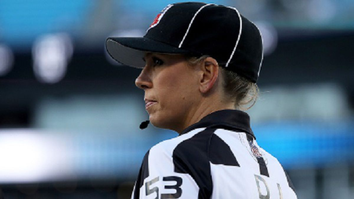 CHARLOTTE, NC - AUGUST 24:  Down judge Sarah Thomas takes the field for the game between the Carolina Panthers and the New England Patriots at Bank of America Stadium on August 24, 2018 in Charlotte, North Carolina.  (Photo by Streeter Lecka/Getty Images)