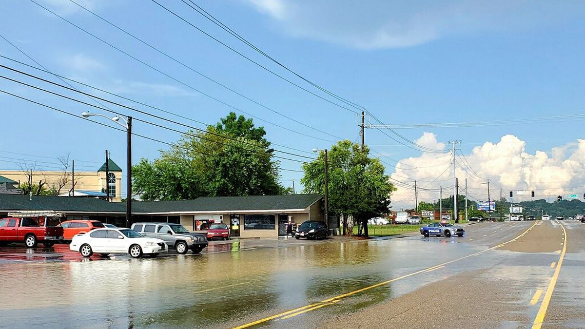 Flooded roads in Northwest Knoxville