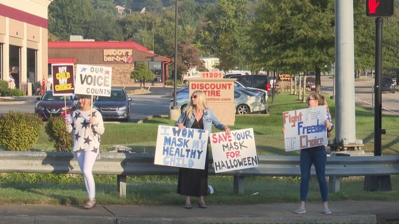 Protestors along Kingston Pike
