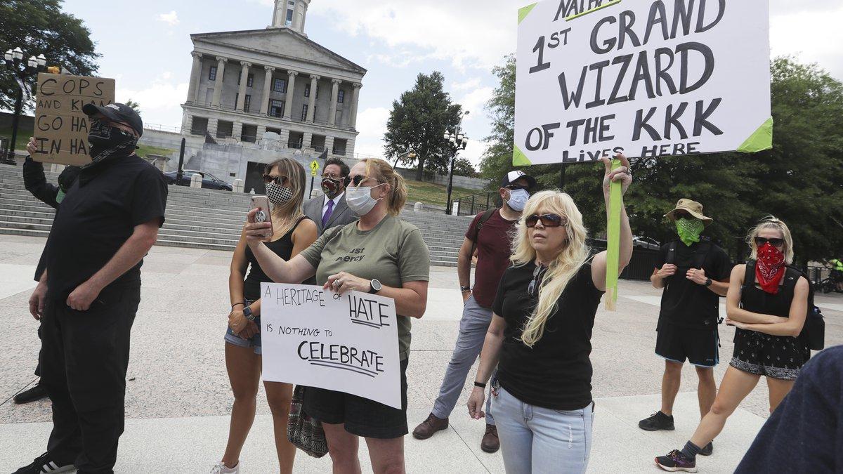 Demonstrators take part in a protest Wednesday, June 10, 2020, in Nashville, Tenn., demanding...