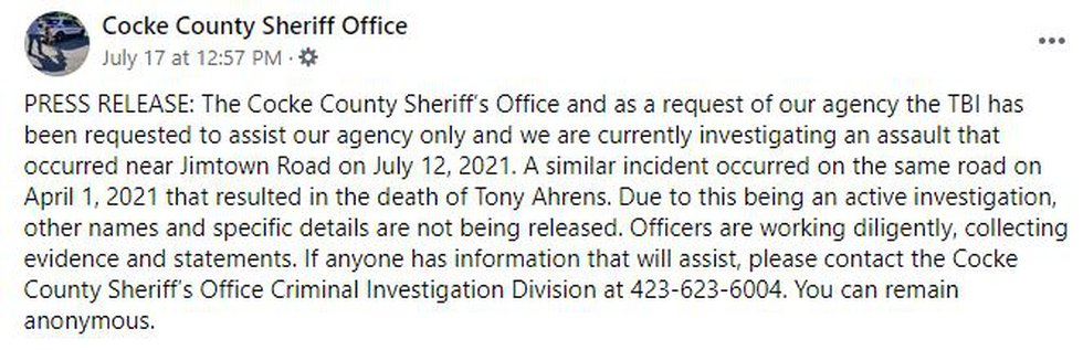 Cocke Co. Sheriff post on Jimtown Rd.