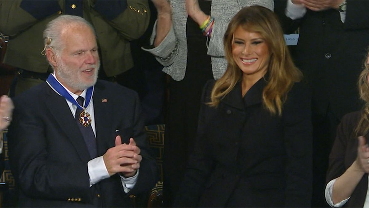 Rush Limbaugh is shown with first lady Melania Trump after receiving the Presidential Medal of...