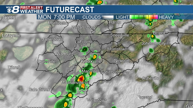 Scattered storms continue Monday